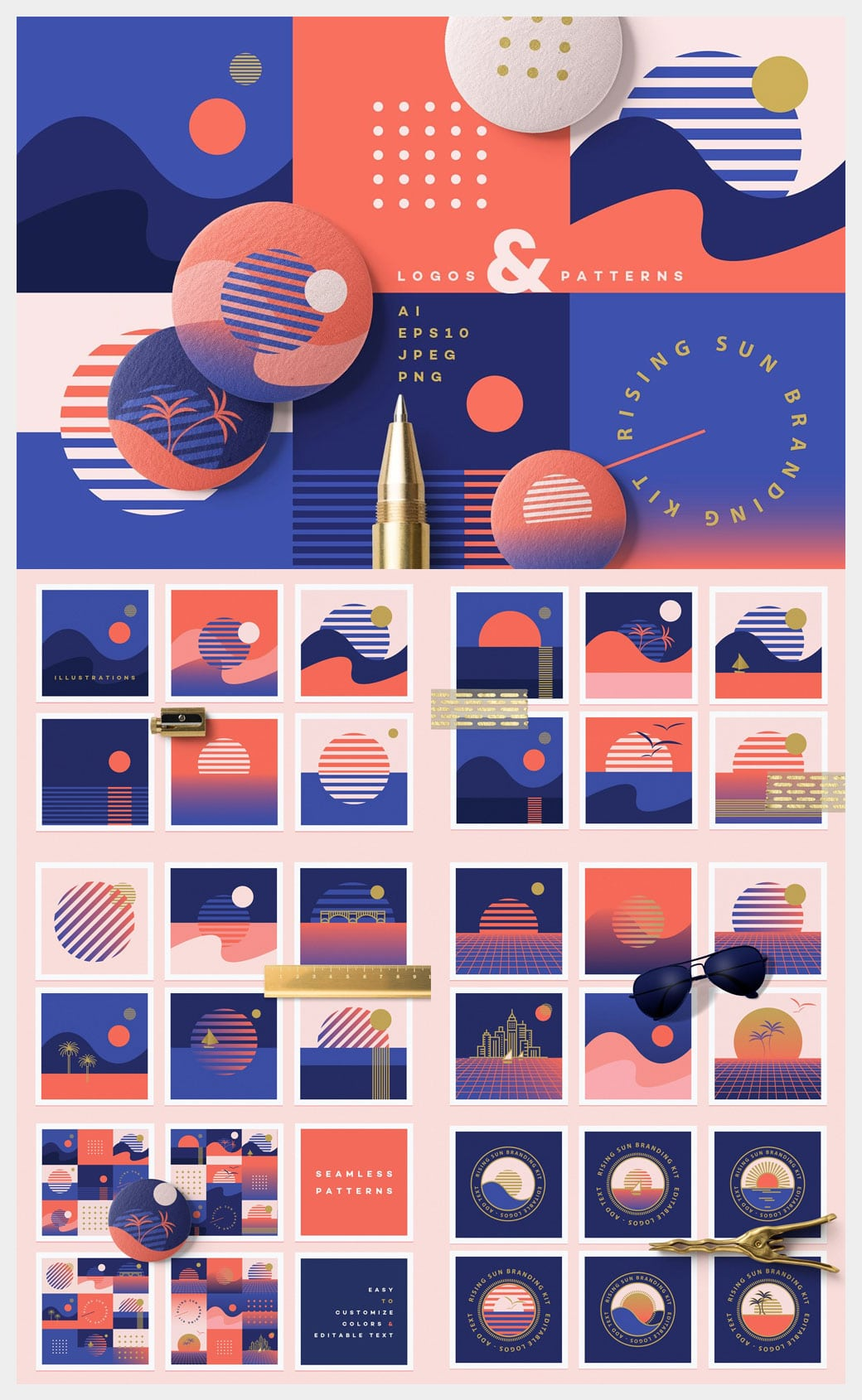illustrations, seamless patterns, seamless textures