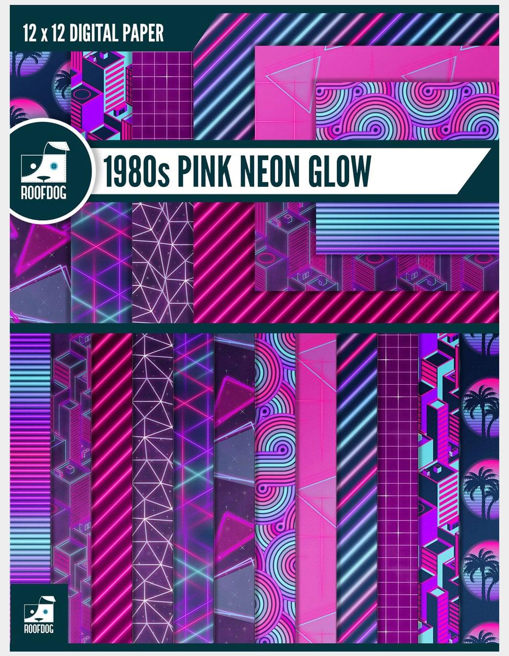 Eighties pink neon digital paper