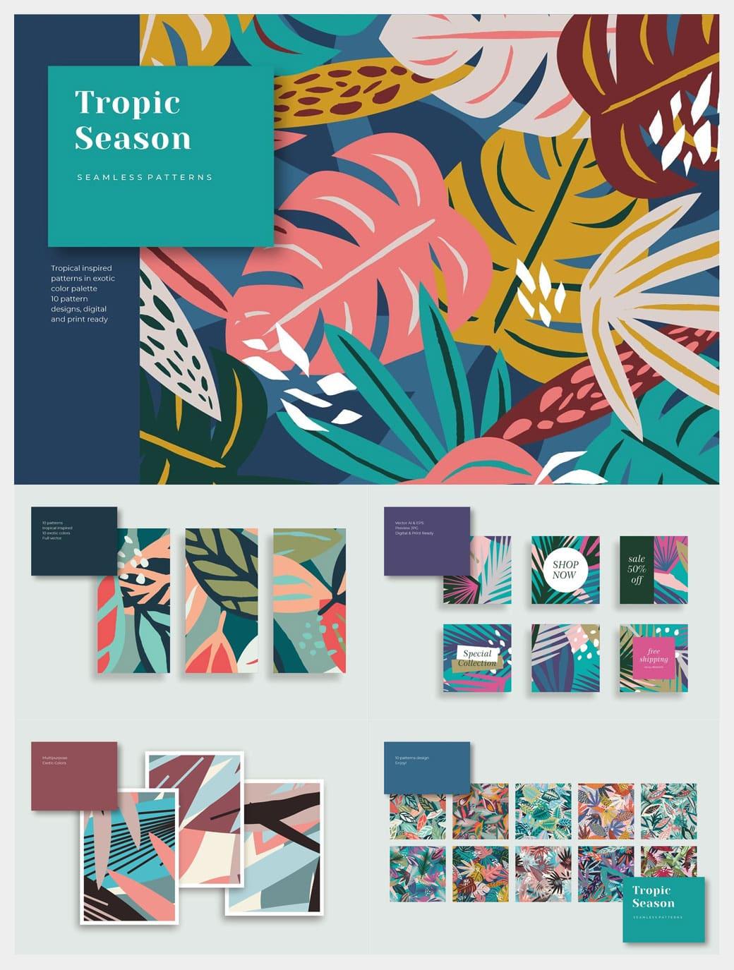 Tropic Season Seamless Pattern