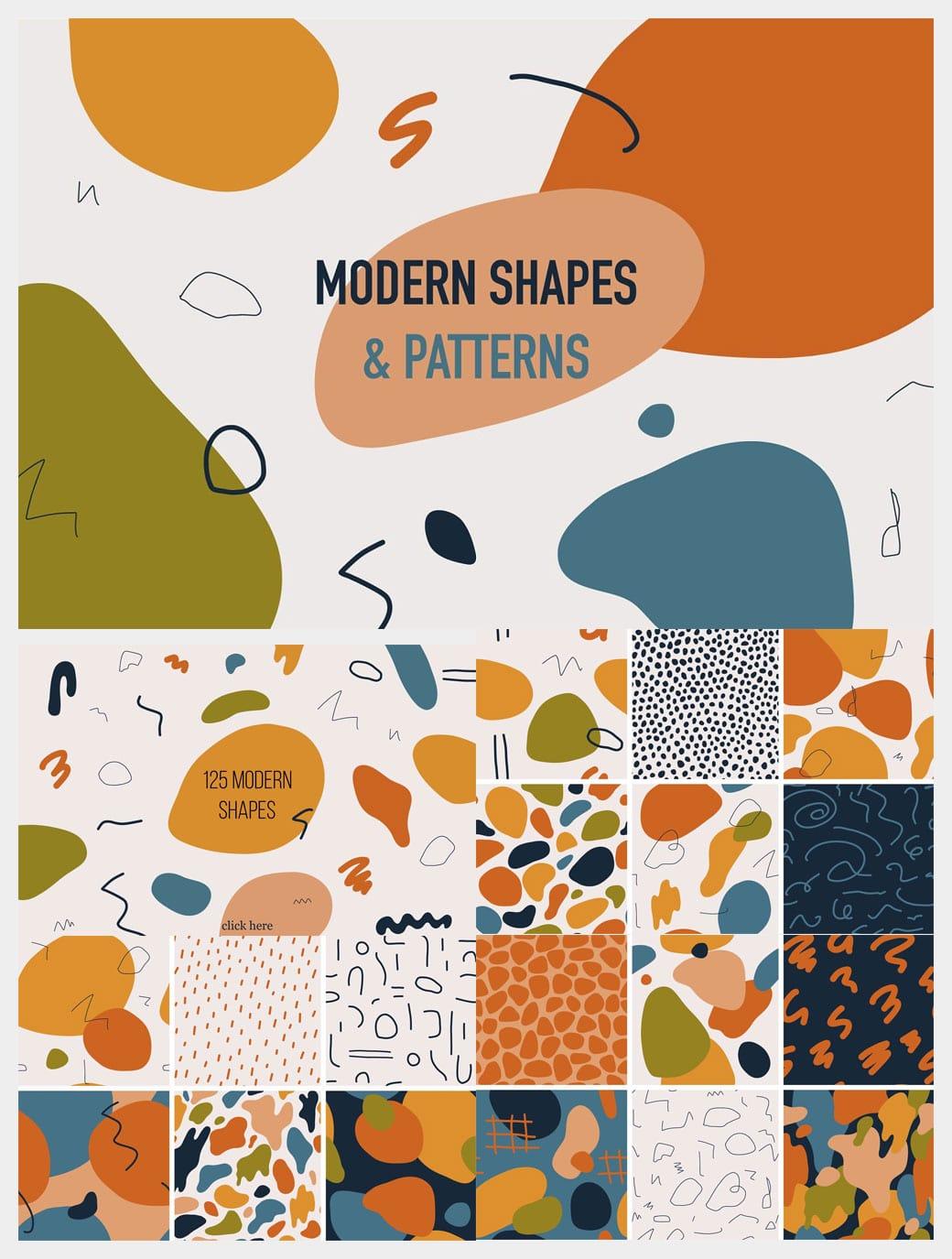 modern seamless patterns, shapes