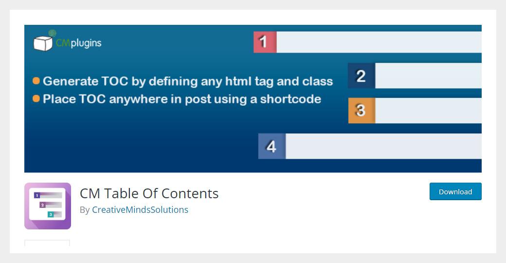 CM Table of Contents WordPress Plugin