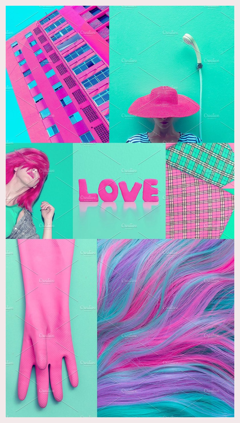 Fashion aesthetic mood board Pink