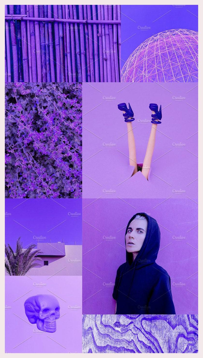 Fashion aesthetic mood board Purple