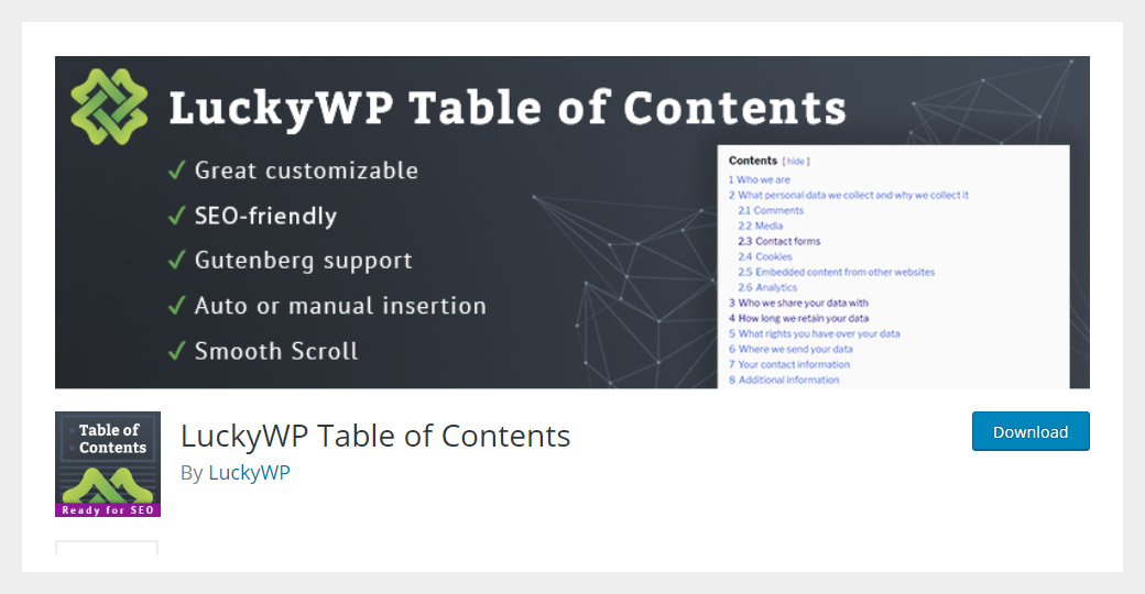 LuckyWP Table of Contents WordPress Plugin