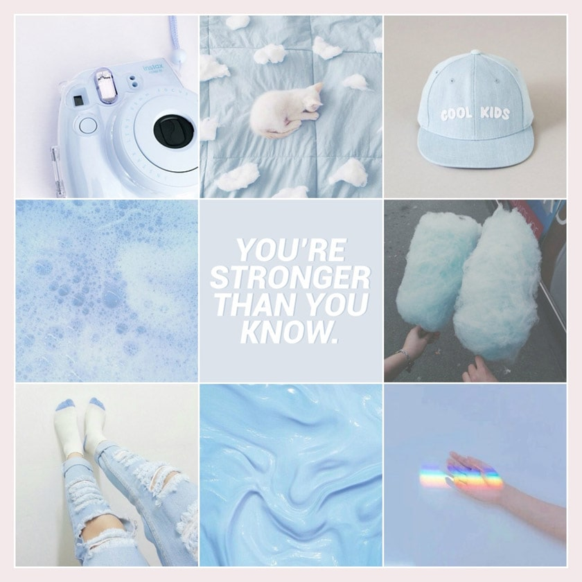 aesthetic moodboard pastel blue