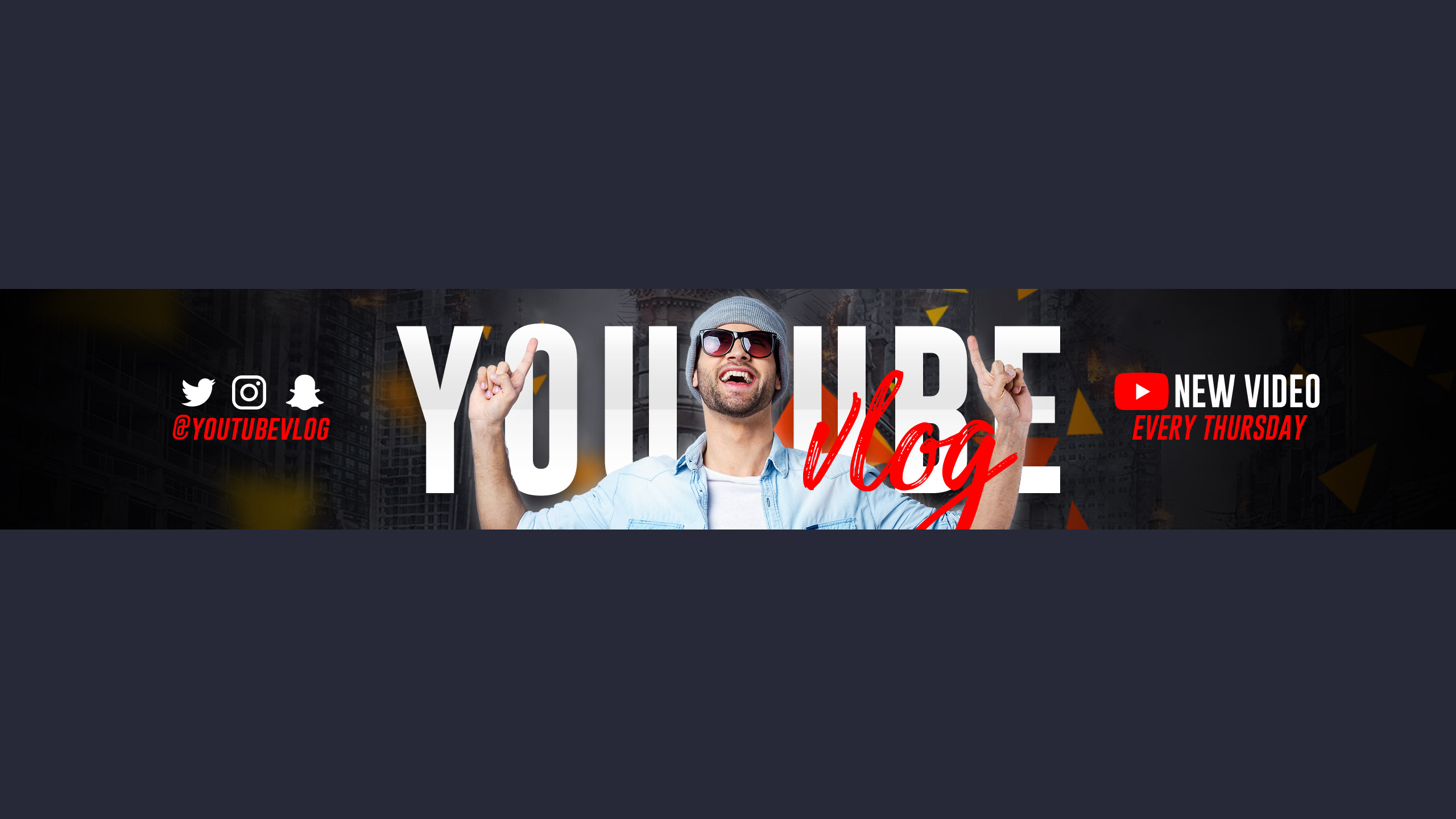 YouTube Channel Art Template Free PSD 2560 x 1440