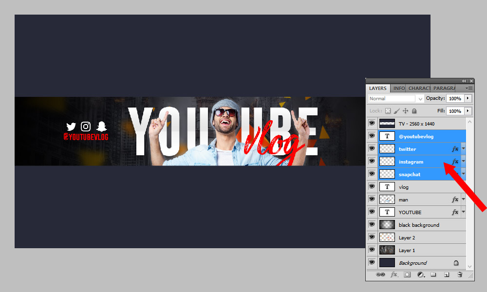 How to add social media icon to YouTube Banner
