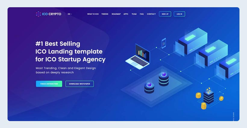 Bitcoin and Cryptocurrency Landing Page PSD Template