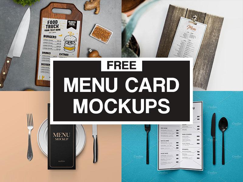 Restaurant Menu Card Mockups Free
