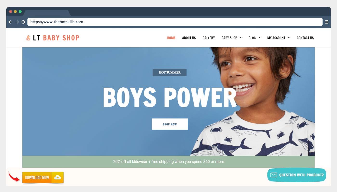 LT Baby Shop - Free Kid Shop WordPress Theme